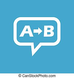 A to B message icon - Letters A, B and arrow in chat bubble,...