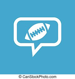 Rugby message icon - Image of rugby ball in chat bubble,...