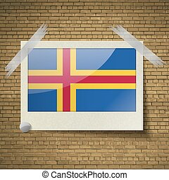 Flags Aland at frame on a brick background. Vector
