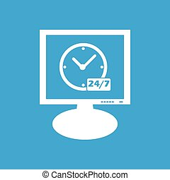 Overnight daily workhours monitor icon