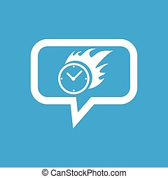 Burning clock message icon - Image of clock on fire in chat...