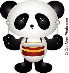 Panda playing drums