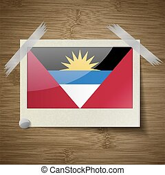 Flags of Antigua and Barbuda at frame on wooden texture. Vector