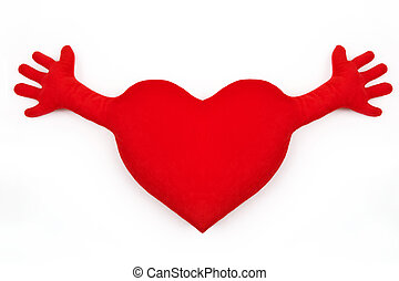Big love - Fluffy soft embrace red heart hand. Love to...