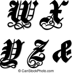 Gothic alphabet letters w, x, y, z, ampersand - Uppercase...