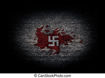 swastika with brick wall and dark background