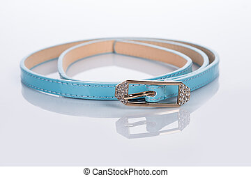 blue Women's belt with rhinestones - blue Women's belt with...