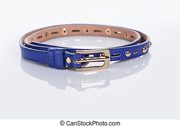 blue Womens belt with rhinestones - blue Womens belt with...