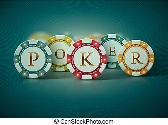 Poker Chips - Colorful poker chips. Illustration contains...