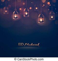 Eid Mubarak, greeting background. Illustration contains...