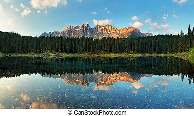 Alps lake landscape with forrest mountain, Lago di Carezza -...