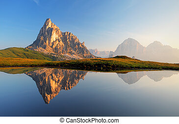 Mountain lake reflection, Dolomites, Passo Giau
