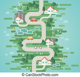 Flat Design Vector Illustration Concept of Ecology Landscape...