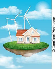 House with wind turbines on a float