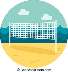 Volleyball net beach sport flat icon, eps 10