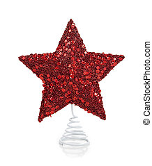 A red glittery Christmas star on white - a red glittery star...