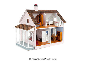 Furnished pink doll house on white - a furnished pink doll...