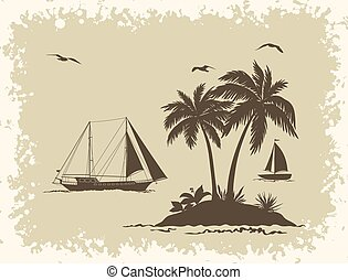 Sea Landscape with Palms and Ships Silhouettes