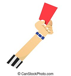 Red Card - Vector illustration of referee hand showing red...