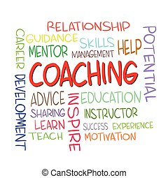 Coaching Word Clouds Concept - Vector illustration of...