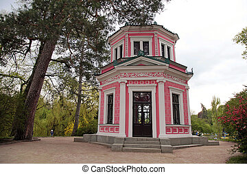 Pink house in Sofiyivsky Park in Uman, Ukraine. Sofiyivka is...