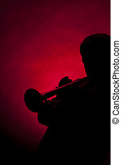 Trumpet Senior Male Player Silhouette Red - A senior male...
