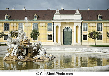 Danube, Inn, and Enns statues at the Schonbrunn Palace in...