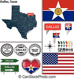 Dallas, Texas - Vector set of Dallas Texas in USA with flag...