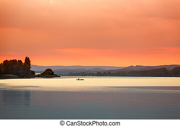Sunset at Lake Constance Bodensee near Reichenau, Germany