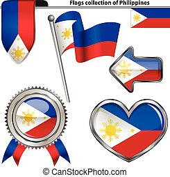 Glossy icons with flag of Philippines