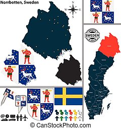 Map of Norrbotten, Sweden