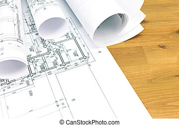 rolls of architecture blueprints and plans