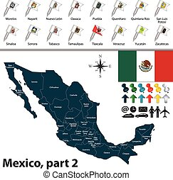 Map of Mexico - Vector map of Mexico with regions with flags...
