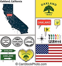 Oakland, California - Vector set of Oakland, California in...