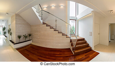 Wooden stairway in luxury residence - Close-up of wooden...