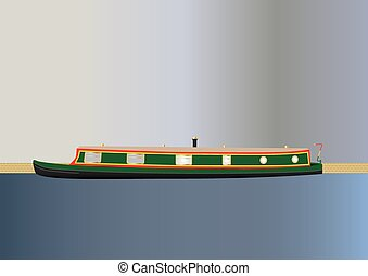 Narrowboat - A Green and Red Narrowboat or barge