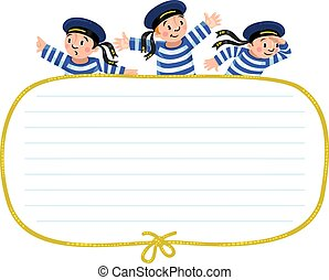 Banner or card with happy sailors - Template background with...