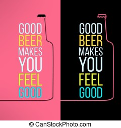 Vector beer bottle design background with a cool slogan on it. Bar poster design element