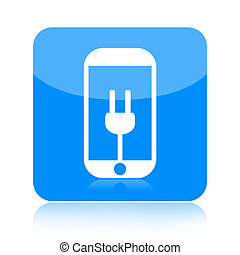 Smartphone and power plug icon