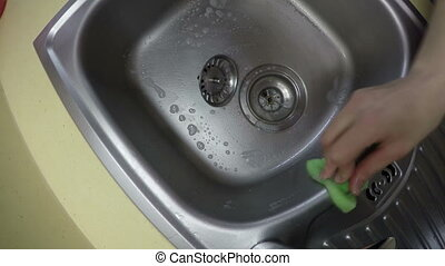 hand wash sink - hand with sponge wash sink. Wide angle...
