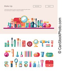 Set of flat design cosmetics, make up icons and elements...
