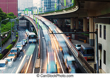 crowed and fast traffic jams on expressway