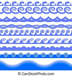 Blue Sea Waves - Set of Blue Sea Waves Isolated on White...