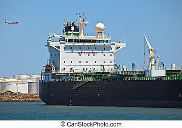 Bridge of Oil Tanker in Docked at Brisbane Harbor - Oil...
