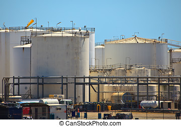 Petroleum storage tanks Brisbane harbor - Petroleum tank...