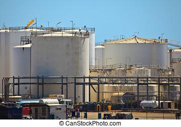 petróleo, almacenamiento, tanques, Brisbane, puerto