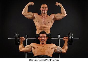 Framställ, två, muskulös,  man
