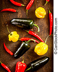Fresh colorful red chili peppers and habanero with yellow...