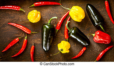 Various Red chili peppers, habanero,sweet peppers and...