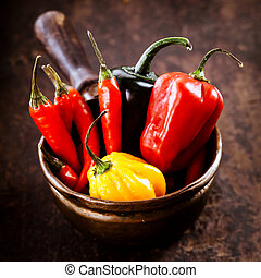 Red hot chili peppers, habanero sweet pepper and jalapeno -...